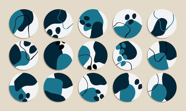 Abstrakte blaue form social media highlight cover vector collection