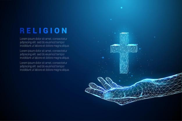 Abstrakte blaue gebende hand hält kreuz. low poly style design. religiöses christliches konzept.