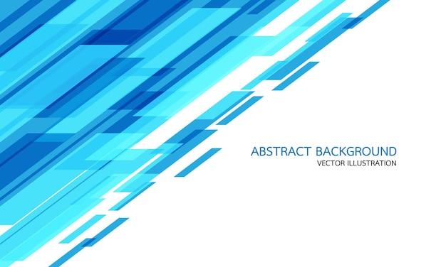 Abstrakte blaue geometrische geschwindigkeitstechnologie auf weiß mit moderner futuristischer hintergrundvektorillustration des leerraums und des textdesigns.