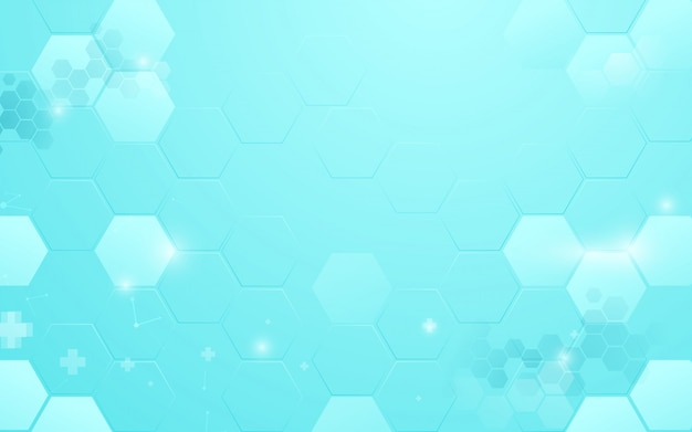 Abstrakte blaue hexagonhintergrundtechnologie mit medizinischem und wissenschaftskonzept