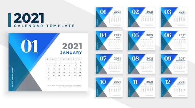 Abstrakte blaue kalendervorlage des neuen jahres