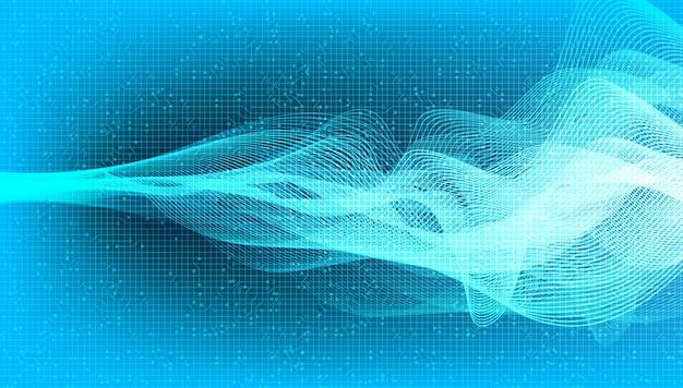 Abstrakte blaue kurve digitales schallwellen- und erdbebenwellenkonzept, entwurf für musikstudio und wissenschaft