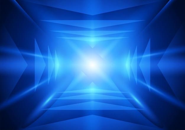 Abstrakte blaue lichter und pfeilzeichen, die sich zu einem einzigen lichtpunkt-perspektivvektor bewegen