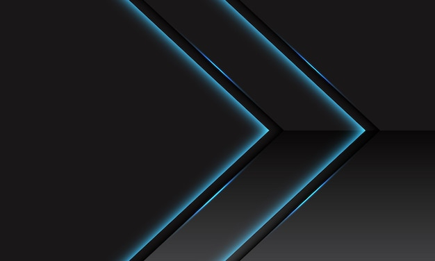 Abstrakte blaue lichtlinie neon glänzende metallische pfeilrichtung auf dunkelgrau mit modernem futuristischem technologiehintergrund des leerraumdesigns