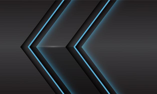 Abstrakte blaue lichtneonpfeilrichtung auf schwarzem metallischem schatten mit modernem futuristischem hintergrund des leerraumdesigns