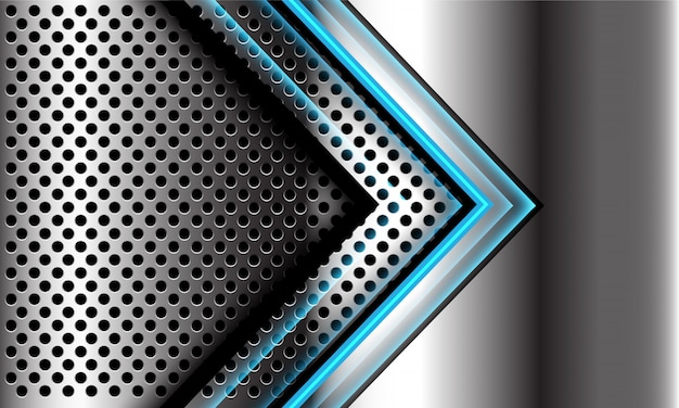 Abstrakte blaue lichtpfeilrichtung auf dem modernen futuristischen luxus-technologiehintergrund des silbernen kreisnetzdesigns.