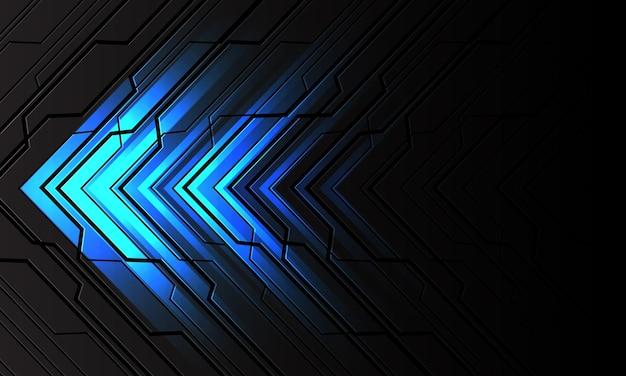 Abstrakte blaue lichtpfeilrichtung auf dunkelgrauer metallischer schwarzer linie cyberschaltung geometrischer entwurf moderner art futuristischer hintergrund