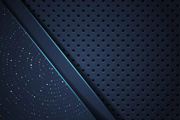 Abstrakte blaue linie überlappt auf glitzerpunkten mit modernem luxus-futuristischem hintergrund des dunklen kreisnetzdesigns