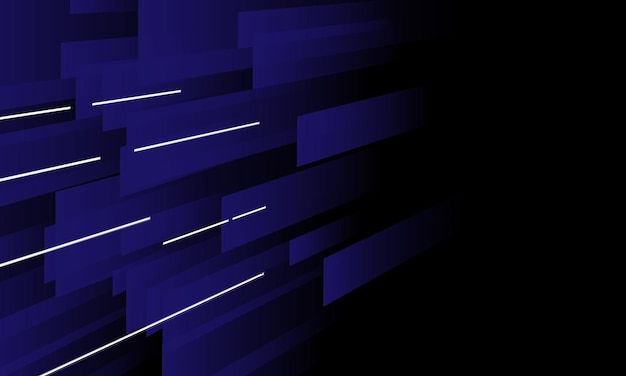 Abstrakte blaue linienperspektive mit weißer lichtlinie auf dunklem hintergrund