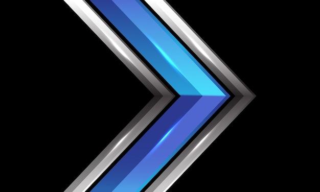 Abstrakte blaue metallische silberne glänzende pfeilrichtung auf futuristischem technologiehintergrund