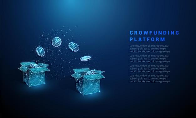 Abstrakte blaue münzen, die von box zu box fliegen crowdfunding-plattformkonzept low-poly-stil vektor
