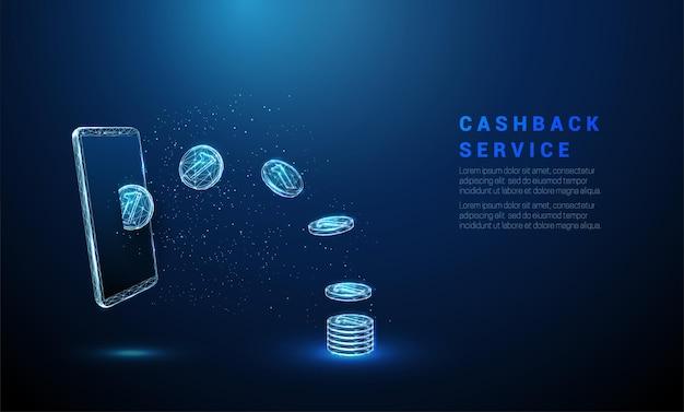 Abstrakte blaue münzen, die von smartphone-münzen fliegen, stapeln cashback-konzept low-poly-stil-design
