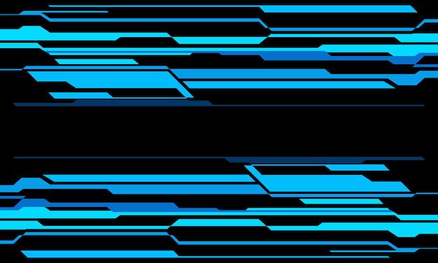 Abstrakte blaue neon-cyber-geometrie-technologie auf modernem futuristischen hintergrundvektor des schwarzen designs