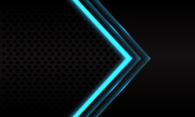 Abstrakte blaue neonpfeilrichtung auf modernem futuristischem hintergrund des schwarzen metallischen kreisnetzmusters