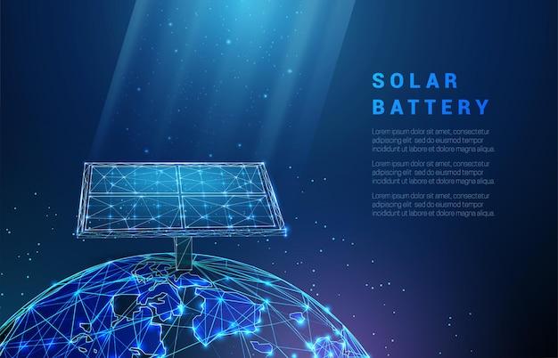 Abstrakte blaue solarbatterie auf dem planeten erde
