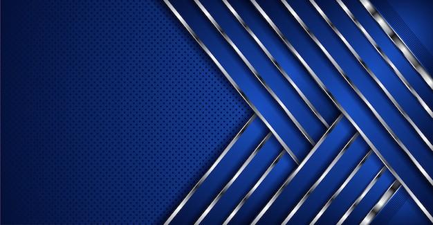 Abstrakte blaue überlappung überlagert fahnenhintergrund mit silberner linie