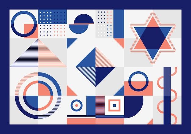 Abstrakte blaue und orange geometrische musterrechtecke, dreiecke, quadrate und kreise bilden auf weißem hintergrund.