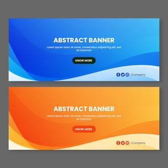 Abstrakte blaue und orange wellen banner hintergrund vorlagen vorlagen set Premium Vektoren
