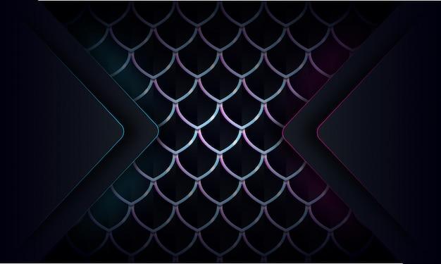 Abstrakte blaue und purpurrote glühenlinie auf dunklem abstraktem musterhintergrund