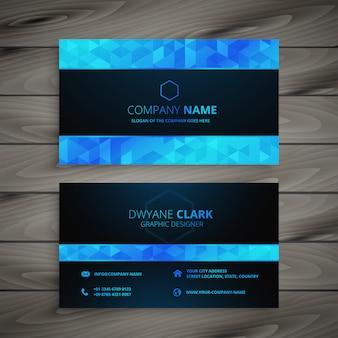 Abstrakte blaue und schwarze visitenkarte
