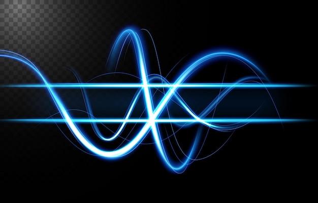 Abstrakte blaue wellenlinie des lichts mit einer horizontalen linie, isoliert und leicht zu bearbeiten.