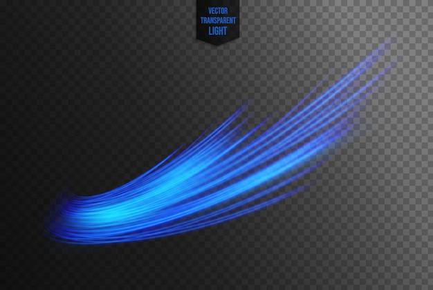 Abstrakte blaue wellenlinie von lichtern