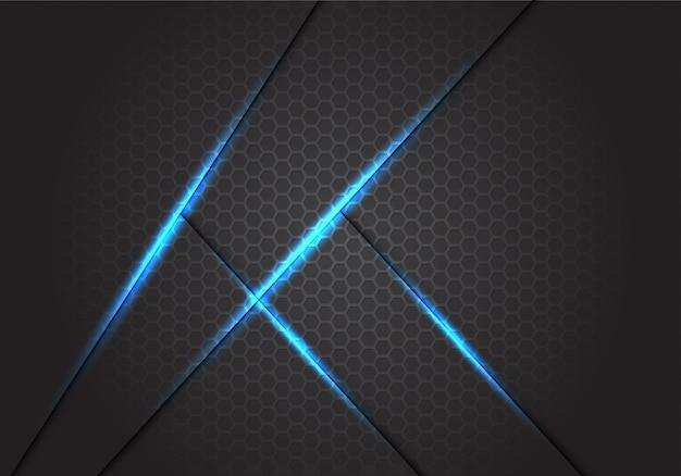 Abstrakte blaulichtschattenlinien auf dunkelgrauem hexagonmaschenhintergrund.