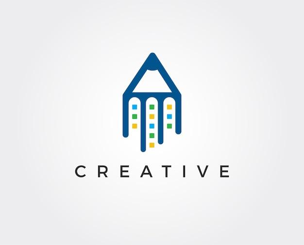 Abstrakte bleistiftpfeil-logo-vorlage