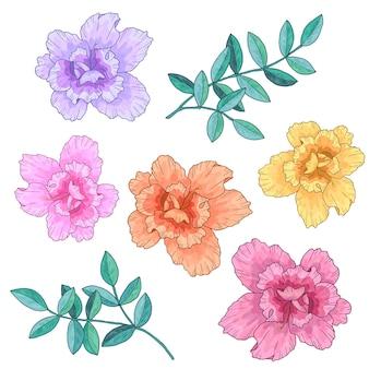 Abstrakte blüten verschiedener farben und grüner zweige mit blättern. hand gezeichnete illustration.