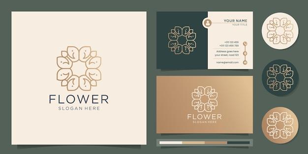 Abstrakte blume rose logo linie kunstart dünn gold luxus design mit visitenkartenschablone premium-vektor