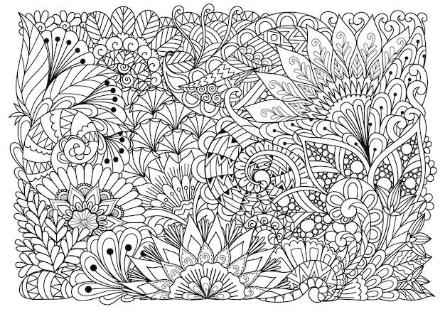 Abstrakte blumen für den hintergrund, malbuch für erwachsene, drucken auf produkt, gravur, scherenschnitt und so weiter. vektor-illustration.