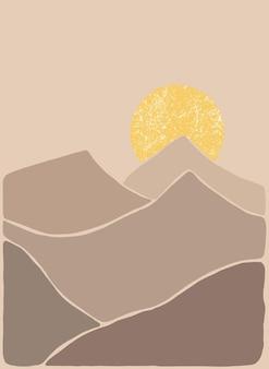 Abstrakte böhmische kunstlandschaft in erdtönen boho-stil mountain view sun moon hills