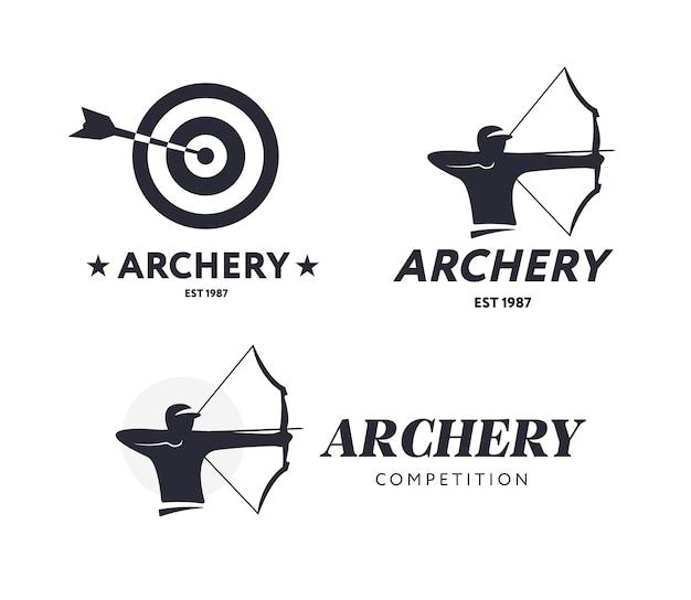 Abstrakte bogenschießen-logos