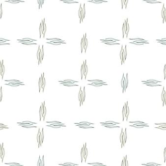 Abstrakte botanische linie formt nahtloses muster, das auf weißem hintergrund lokalisiert wird. natur tapete. design für stoff, textildruck, verpackung, abdeckung. vektor-illustration.