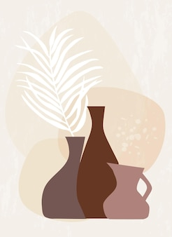 Abstrakte botanische wandkunst mit palmblatt in vasen