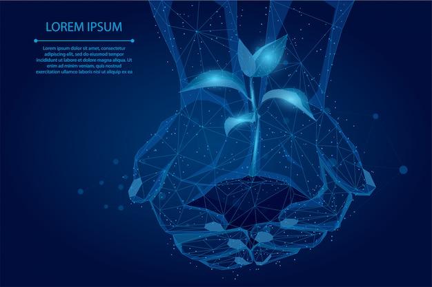 Abstrakte breilinie und punkthände, die betriebssprössling halten. rette die natur des planeten, um das leben zu stärken