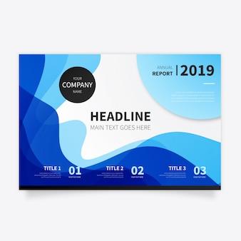 Abstrakte broschüre mit modernen blauen wellen
