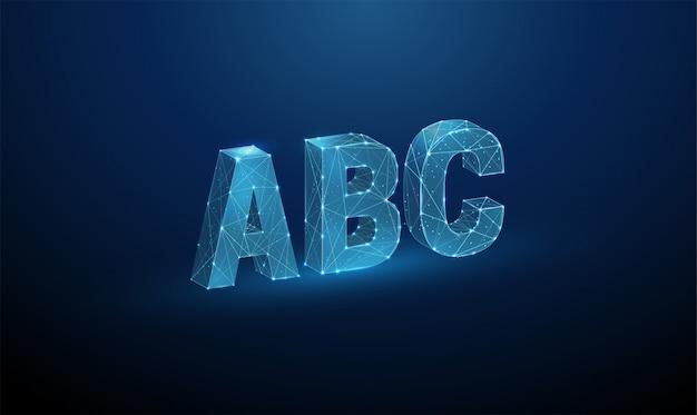 Abstrakte buchstaben abc. low poly style design.