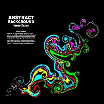 Abstrakte bunte flüssige farbkunst im schwarzen hintergrund passend für fahnenplakat