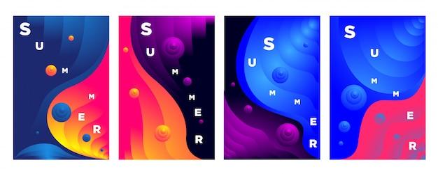 Abstrakte bunte flüssige welle für sommerhintergrund