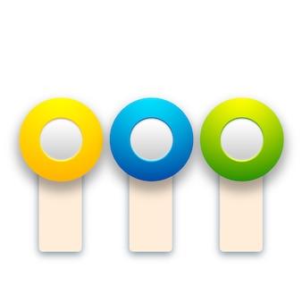 Abstrakte bunte knebel, die mit vertikalen bannern und runden knöpfen für webdesign lokalisiert werden