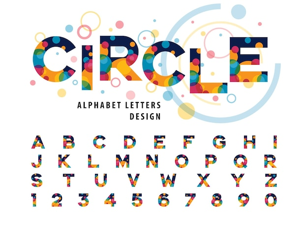 Abstrakte bunte kreise in buchstaben und zahlen des alphabets