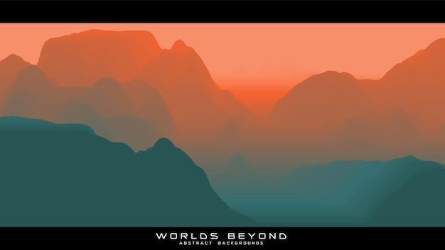 Abstrakte bunte landschaft mit nebligen nebel bis horizont über berghängen