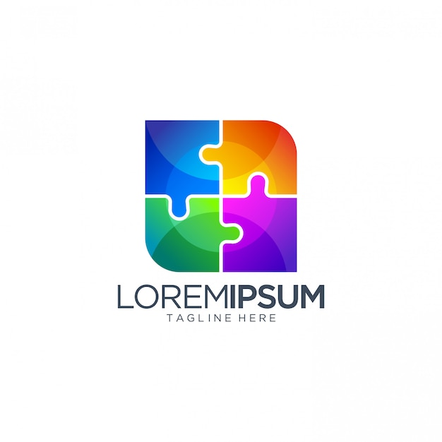 Abstrakte bunte puzzlespiel logo design vector template