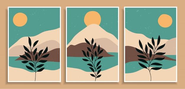 Abstrakte bunte verschiedene organische formkunstdruckhintergrundentwurf. trendige handgezeichnete blätterlandschaft der zeitgenössischen kunstweinlese