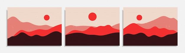 Abstrakte bunte verschiedene organische formkunstdruckhintergrundentwurf. trendige handgezeichnete wüstenlandschaft der zeitgenössischen kunst vintage