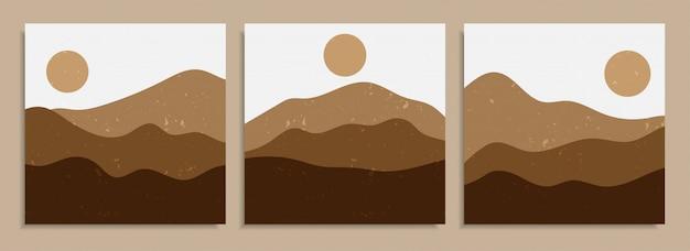 Abstrakte bunte verschiedene organische formkunstdruckhintergrundentwurf. trendiges handgezeichnetes wüstenlandschaftsplakat der zeitgenössischen kunst vintage für tapeten