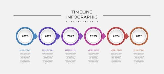 Abstrakte business-infografik-vorlage mit 6 kreisen auf zeitachsendiagrammen