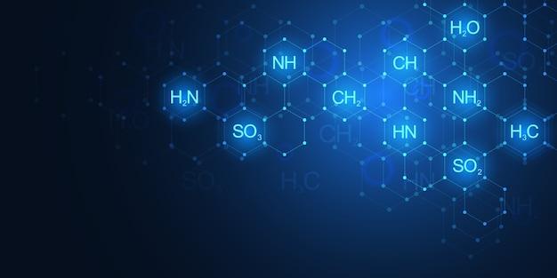 Abstrakte chemie auf dunkelblauem hintergrund mit chemischen formeln und molekularen strukturen. wissenschafts- und innovationstechnologiekonzept.