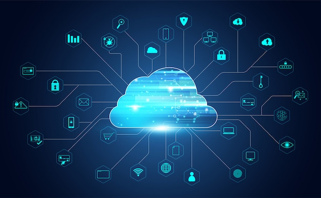 Abstrakte cloud-technologie mit big data und symbolen verbindung